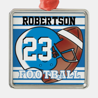 Blue and White Football Silver-Colored Square Decoration