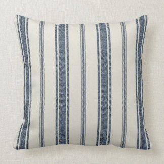 Blue and White French Jacquard Stripe Cushion