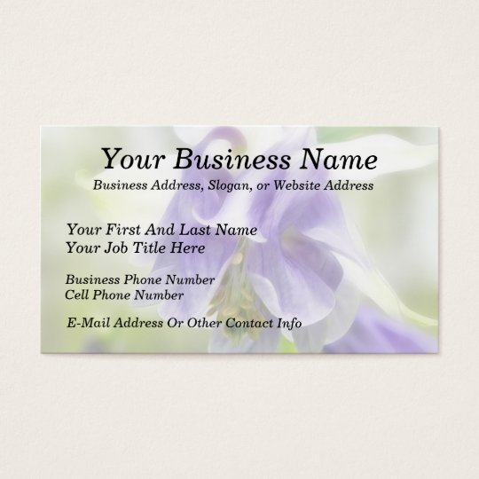 Blue And White Frilly Columbine Business Card