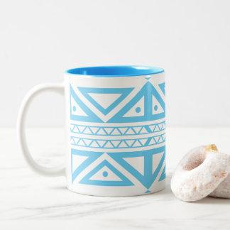 Blue and White Geometric Aztec Inspired Mug