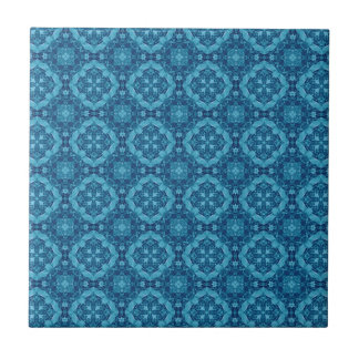 Blue and White Geometric Design T011 Small Square Tile