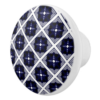 Blue And White Geometric Pattern Ceramic Knob