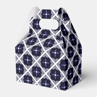 Blue And White Geometric Pattern Favour Box