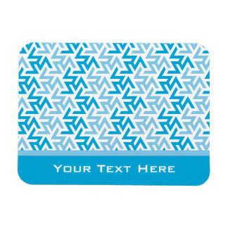 Blue and White Geometric Pattern Flexible Magnets