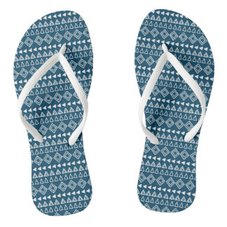 Blue and White Geometric Pattern Flip Flops