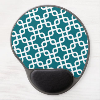 Blue and WHite Geometric Pattern Gel Mouse Pad
