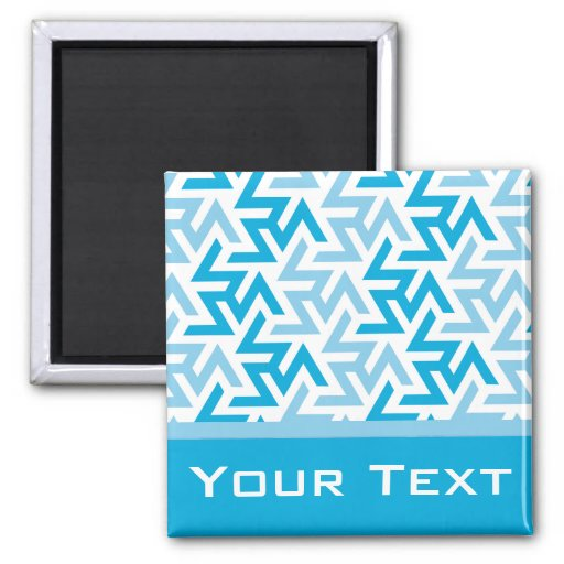 Blue and White Geometric Pattern Magnets