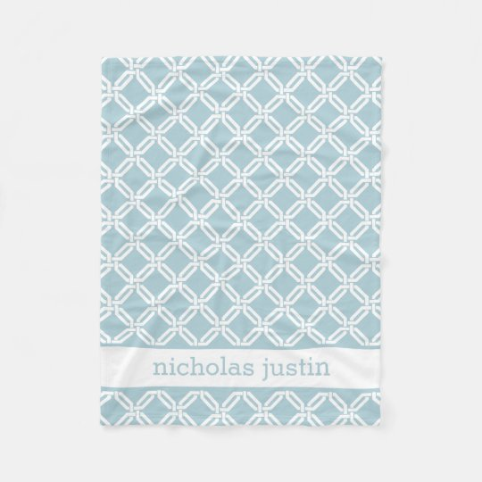 Blue and White Geometric Personalised Baby Fleece Blanket