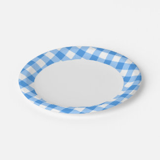 Blue And White Gingham Check Pattern 7 Inch Paper Plate
