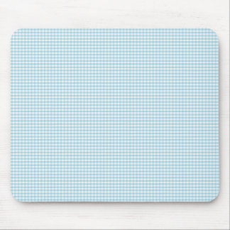 Blue And White Gingham Check Pattern Mouse Mat