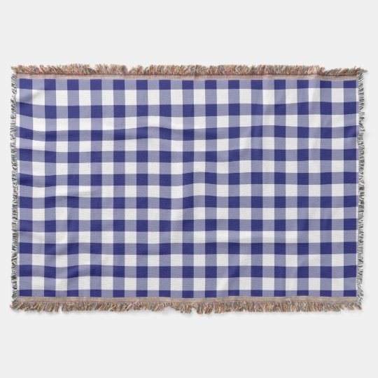 Blue And White Gingham Checks Pattern Throw Blanket