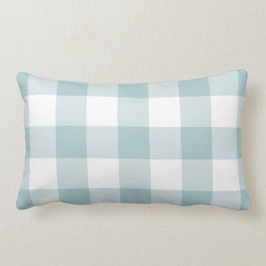 Blue and White Gingham Pattern Lumbar Cushion