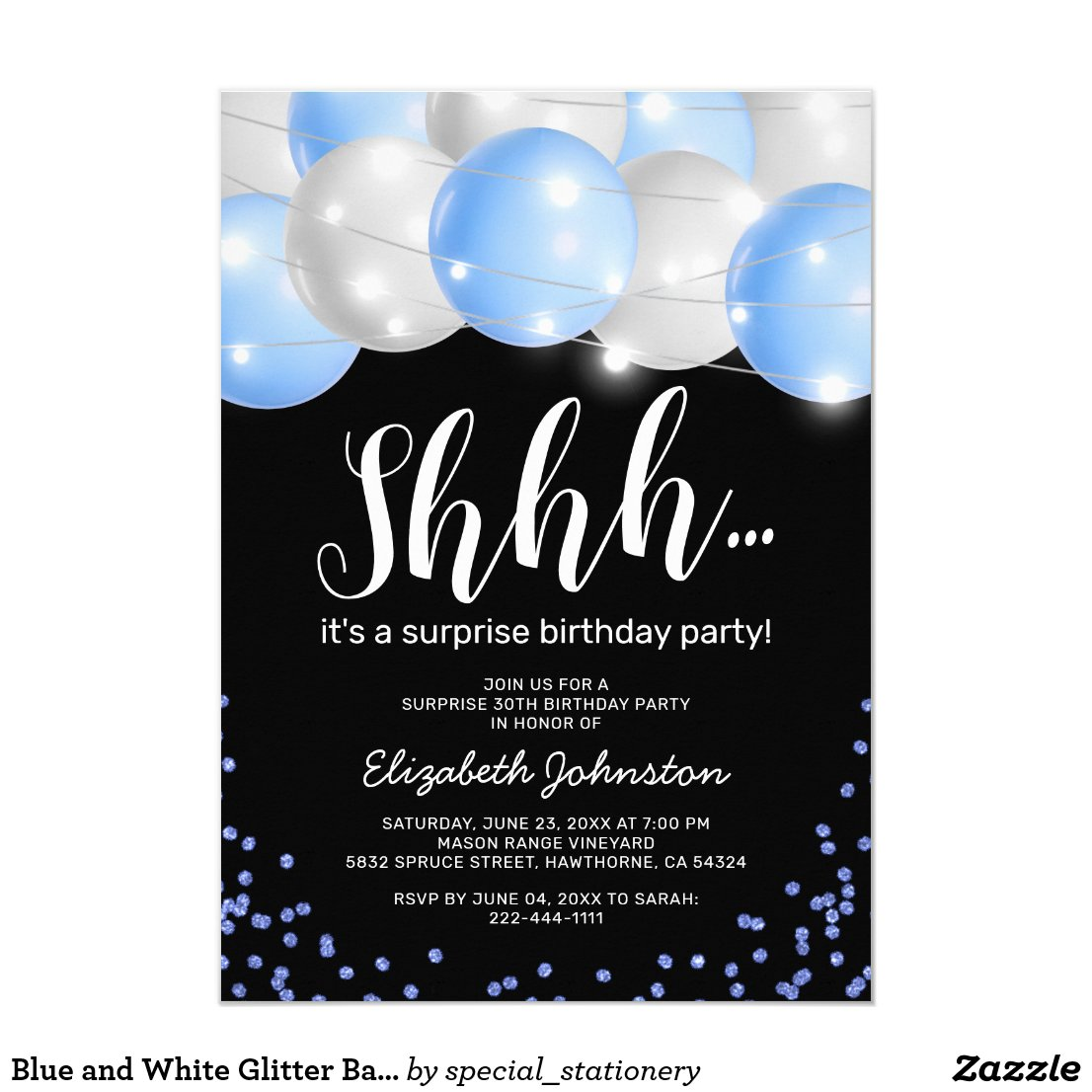 Blue and White Glitter Balloons Surprise Birthday Invitation