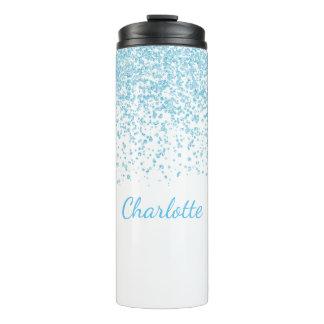 Blue and White Glittery Custom Thermal Tumbler
