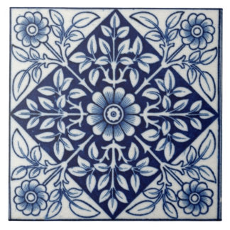 Blue and White Gothic Vintage Design Ceramic Tile
