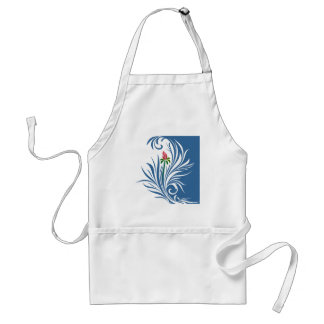 Blue and White Graphic Rose Aprons