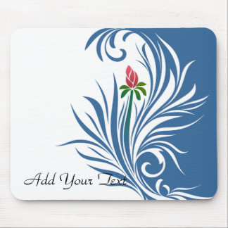 Blue and White Graphic Rose Mouse Pads