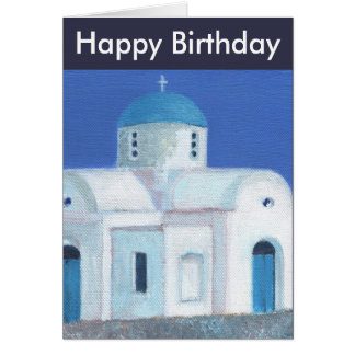 Blue And White Greek Cypriot Church Happy Birthday Greeting Card