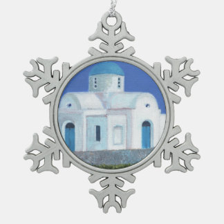 Blue And White Greek Cypriot Church Pewter Snowflake Decoration