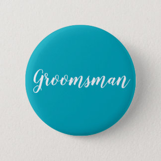 """Blue and white """"Groomsman"""" button"""
