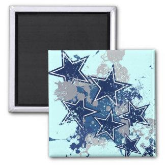 BLUE AND WHITE GRUNGE STYLE STARS FRIDGE MAGNET
