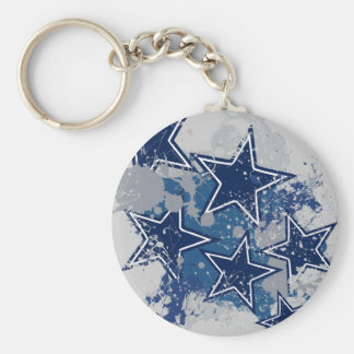 BLUE AND WHITE GRUNGE STYLE STARS KEYCHAINS