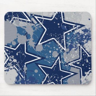 BLUE AND WHITE GRUNGE STYLE STARS MOUSE PAD