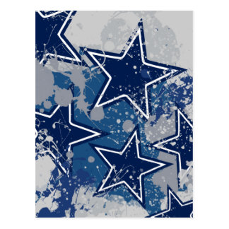 BLUE AND WHITE GRUNGE STYLE STARS POSTCARD
