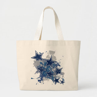 BLUE AND WHITE GRUNGE STYLE STARS TOTE BAGS