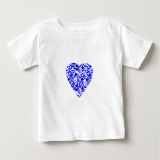 Blue and White Heart. Patterned Heart Design. Baby T-Shirt