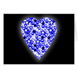 Blue and White Heart. Patterned Heart Design. Card