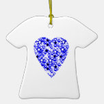 Blue and White Heart. Patterned Heart Design. Christmas Ornament