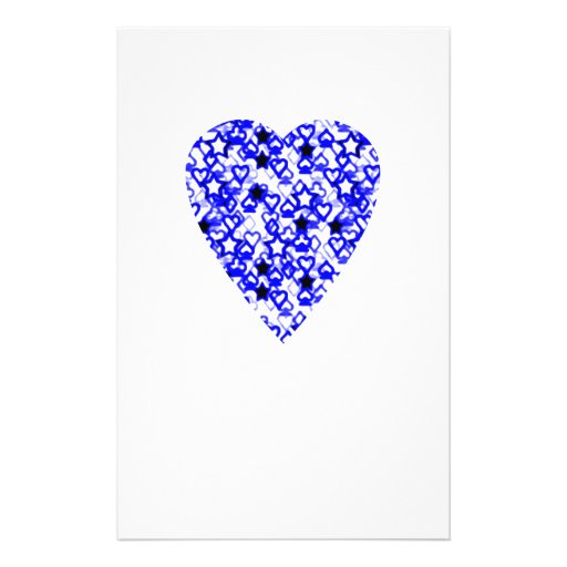 Blue and White Heart. Patterned Heart Design. Personalized Flyer