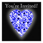 Blue and White Heart. Patterned Heart Design. Announcements