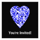 Blue and White Heart. Patterned Heart Design. Personalized Invite