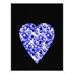 Blue and White Heart. Patterned Heart Design. Custom Invites