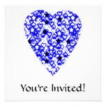 Blue and White Heart. Patterned Heart Design. Custom Invitations