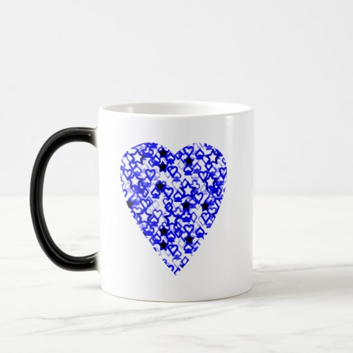 Blue and white heart patterned heart design coffee mugs for Blue mug designs