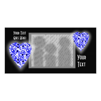 Blue and White Heart. Patterned Heart Design. Personalised Photo Card