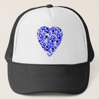Blue and White Heart. Patterned Heart Design. Trucker Hat
