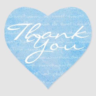 Blue and White Heart Thank You Envelope Seal Heart Sticker