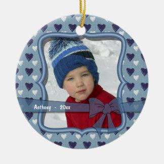 Blue And White Hearts Keepsake Photo Ornament