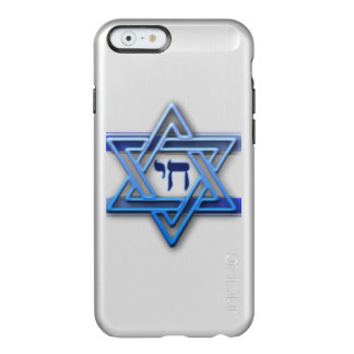 Blue and White Hebrew Chai Star of David Incipio Feather® Shine iPhone 6 Case