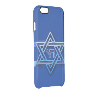 Blue and White Hebrew Chai Star of David iPhone 6 Plus Case