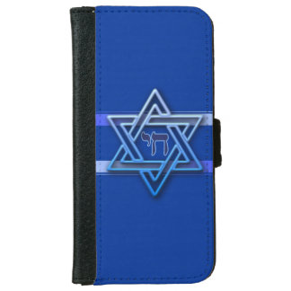 Blue and White Hebrew Chai Star of David iPhone 6 Wallet Case