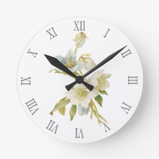Blue and white hellebores round clock