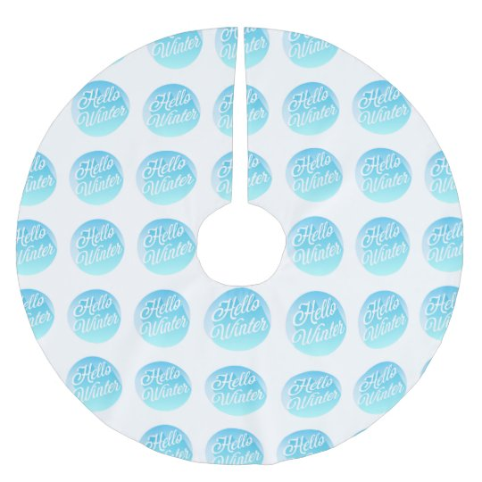 Blue And White Hello Winter Polka Dot Brushed Polyester Tree Skirt