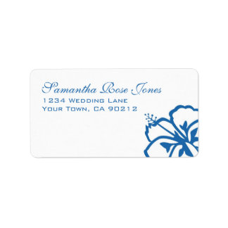 Blue and White Hibiscus Flowers Custom Address Label