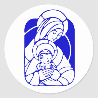 Blue and White Holy Mother and Child Round Sticker