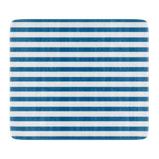 Blue and White Horizontal Stripe Cutting Board